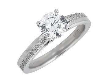 Style #185-E, 14K gold CZ (Cubic Zirconia),  Engagement Ring