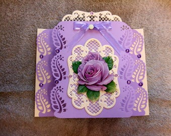 Lilac rose, blank inside,  Any Occassion, Birthday Anniversary,