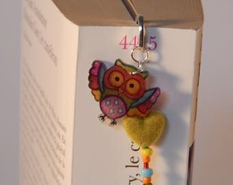 OWL bookmarks with engraved silver metal, beads and heart bookmark