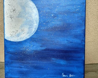 Acrylic painting. Blue moon. Hand painted.