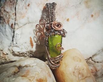 Copper Wire wrapped green sea glass pendant