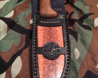 Hand made custom camp/hunting knife with custom leather and snakeskin sheath