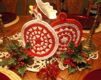 SET of 2 Handmade  HOLIDAY CROCHET Potholders