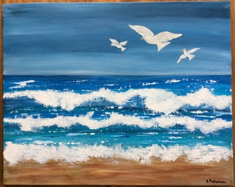 FREE SHIPPING Ocean Waves Doves of Peace Original Acrylic Painting