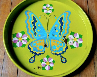 Vintage, Butterfly, Drink Tray, Serving Tray, 70s, Colorful