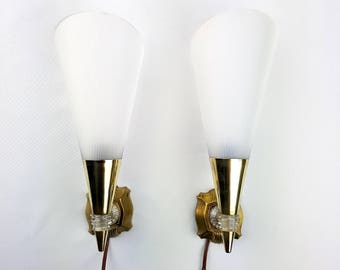 Pair of vintage brass cone cornet and resin 1950