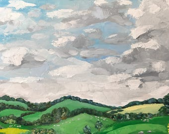 Large Oil Landscape Painting, Cotswolds; original artwork, wall art, decoration