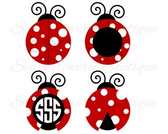 Ladybug monogram frame,  svg, png, dxf, for cricut, silhouette studio, cut file cutting machines, vinyl decal, t shirt design