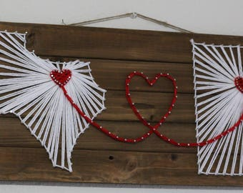 Two state string art - Fully customizable - Example features Texas and Utah - Gift for him/her, Valentines gift, Handmade, Anniversary gift
