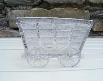 Vintage Glass hay wagon/cart ornament