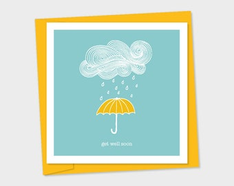 get well soon – yellow umbrella