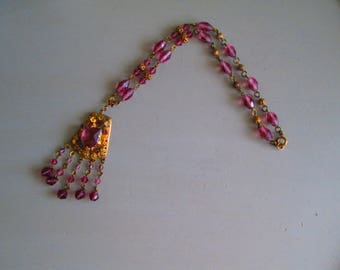 Vintage Czech Art Deco necklace, vintage 1920s gold filigree necklace, vintage mauve pink glass necklace