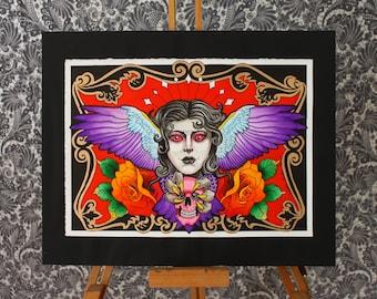 Eagle Woman - neo traditional tattoo art flash print