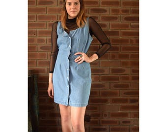 Vintage 90s button down denim dress