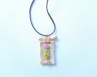 Succulents in the wooden square, polymer clay necklace
