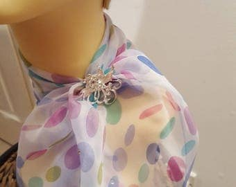 Ladies Glamour Swarovski adorned scarf & scarf clip-gift boxed-'So Pretty Blue'