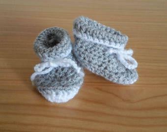 Gray crochet baby booties