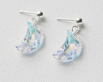Moon Silver Earrings, Swarovski Crystal Earrings, Sterling Silver, Wedding Earrings, Bridesmaid Earrings, Prom Earrings, Stud Earrings