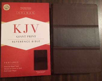 PERSONALIZED ** KJV Giant Print Reference Bible - Brown / Chocolate Leathertouch ** Custom Imprinted