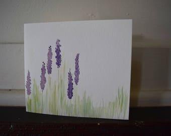 Hand Painted Purple Prairie Flower Card