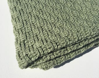 Crocheted Sage Green Afghan Blanket