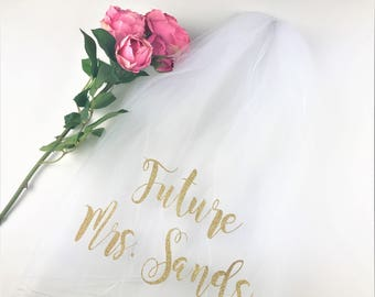 Personalized Veil, Bride to Be Veil,  Future Mrs Veil, Bachelorette Party Veil, Bachelorette Veil, Custom Veil, Style M