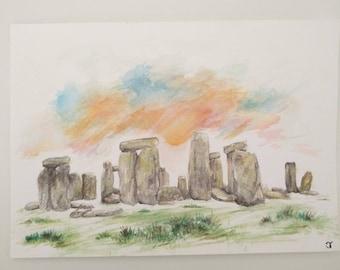 Watercolour Stonehenge - Handmade drawing, Twilight, Sunset