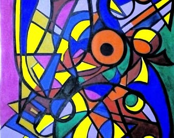 Artwork paintings painting modern art colorful contemporary art abstract art faces painting