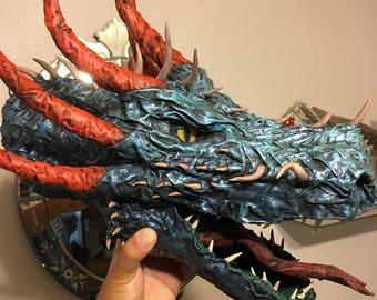 Paper mache dragon head