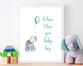 How I love you baby boy, nursery art printable download, baby shower gift, instant download, elephant nursery decor, baby gift, printable