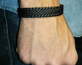 Flat black braided leather bracelet