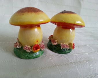 Made in Japan. Vintage small mushroom salt and pepper shakers.
