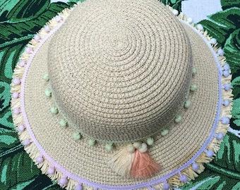 Pom Pom Straw Summer Sun Hat with Tassel detail