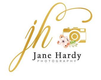 Gold foil photography logo design, watercolor logo, gold foil logo, floral logo design, watercolor flowers, branding template, photo camera