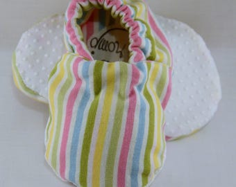 """4"""" Soft-Soled Baby Shoes - Pastel Stripes - Adjustable Ankles - Non-Slip Soles"""
