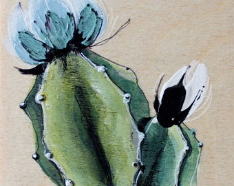 plant with blue flower painting on wood. gift for birthday. immortal cactus. Interior design for bedroom, office, living room