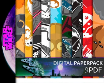 Star Wars Digital Paper, OFFER 90% Off SALE Awesome Star Wars Digital Paper Pack --- EP7