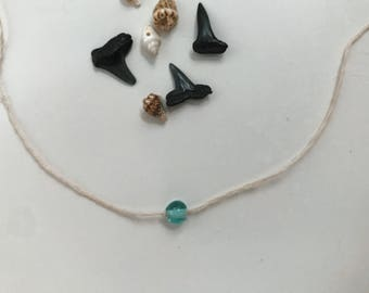 Droplet Necklace // Simple teal pendant w/ clasp