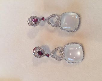 Silver White Moonstone Garnet and CZ
