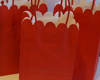 5 Red Paper Gift Bags With Handles