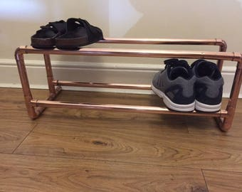 2 tier, Copper, copper pipe, Copper fittings, industrial, Contemporary, shoe rack.