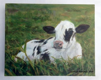 Cow Painting, Original Art, Black and White Cow painting, Farmhouse wall art, Farmhouse decor
