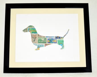 Dachshund Stamp Collage Cutout