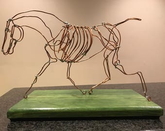 Copper Wire Horse Sculpture