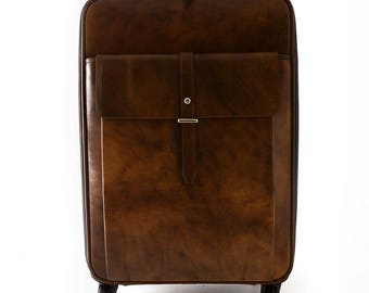 Genuine Leather Travel Trolley with Front Pocket