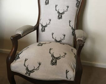 Stunning French Louis XV Oak Chair - Recently Upholstered