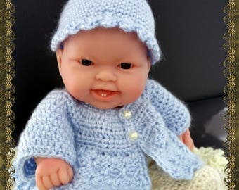 """Adorable Berenguer Baby Crochet """"Baby in Blue"""" Outfit - fits 10 inch doll Quality Handcrafted"""