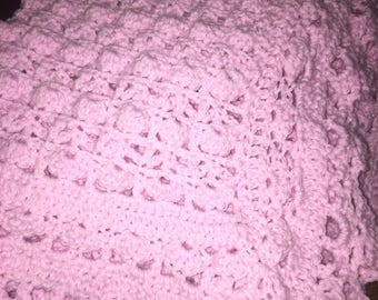 Handmade Crochet Shells & Lace Baby Blanket