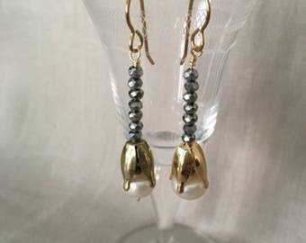 Freshwater Pearl and Hematite Bead Drop Earrings