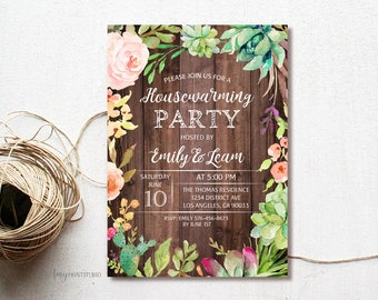 House Warming Invitation, House Warming Party Invite, Wood New Home Invitation, PERSONALIZED, Digital file, #H01